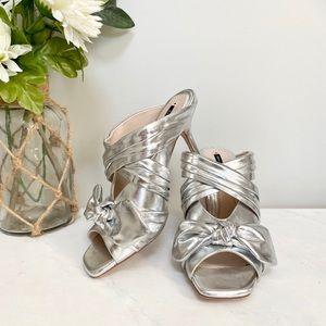 NWOT Zara silver heeled sandals